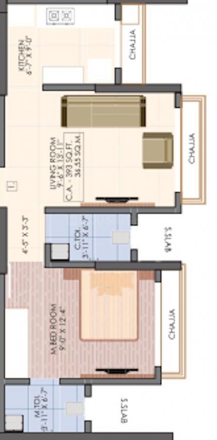 Vaibhavlaxmi Victoria 54 Floor Plan: 1 BHK Unit with Built up area of 393 sq.ft 1