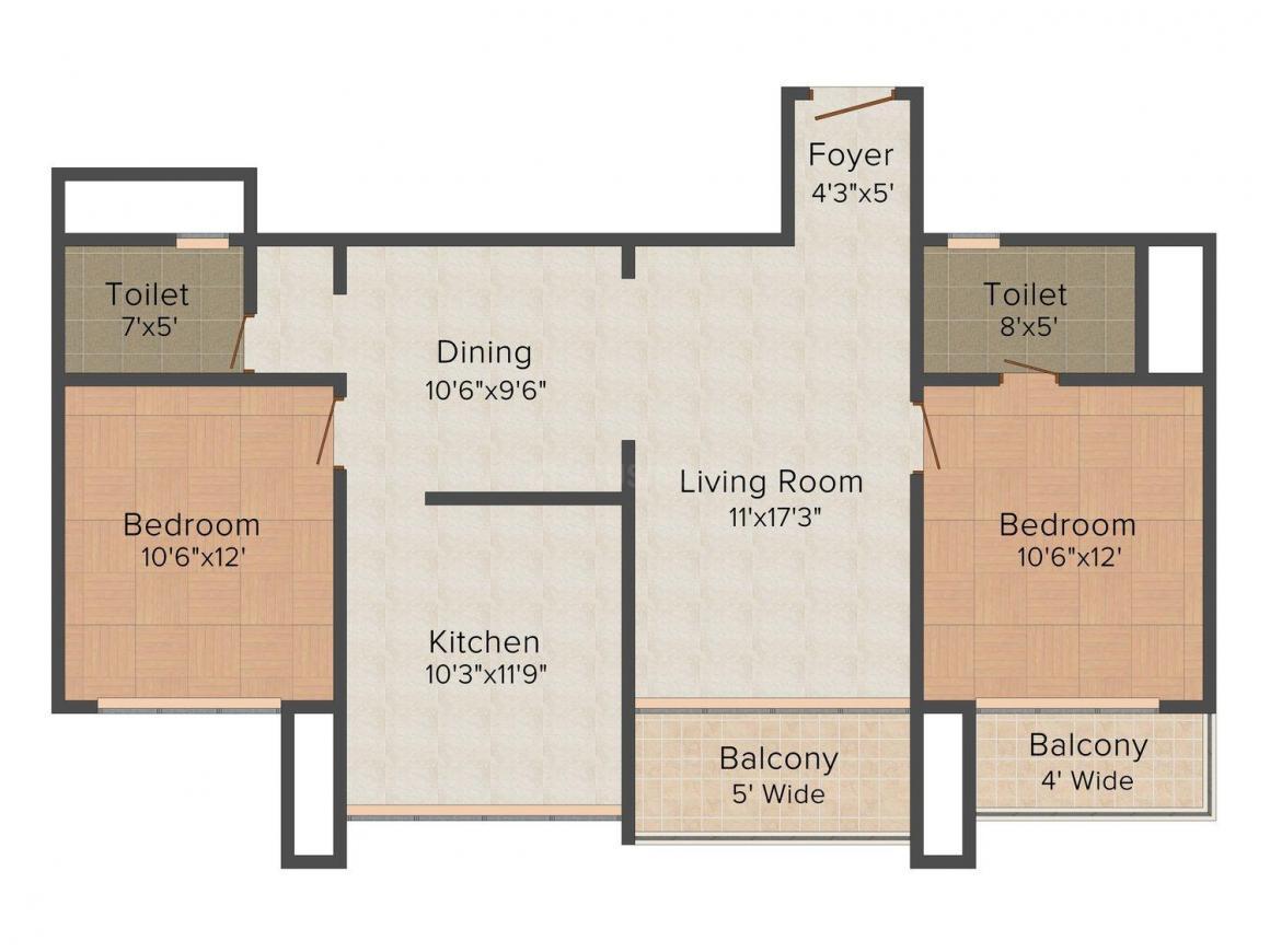 Floor Plan Image of 1195.0 - 1635.0 Sq.ft 2 BHK Apartment for buy in IN Estoria