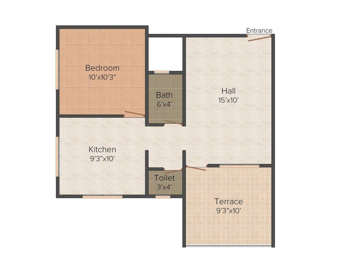Floor Plan Image of 640.0 - 850.0 Sq.ft 1 BHK Apartment for buy in Shree Balaji Ballaleshwar Appartment