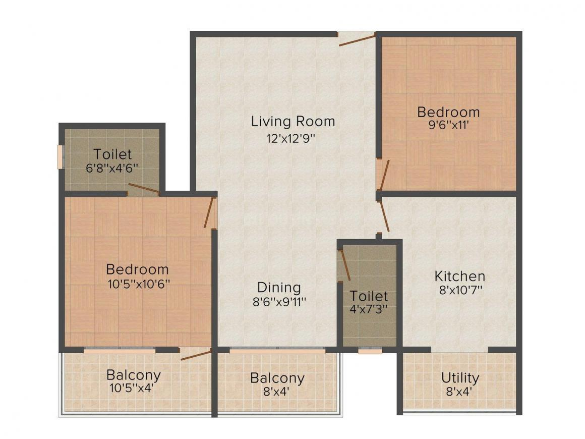 Floor Plan Image of 585.0 - 1183.0 Sq.ft 2 BHK Apartment for buy in Bhandary Vijaya Enclave