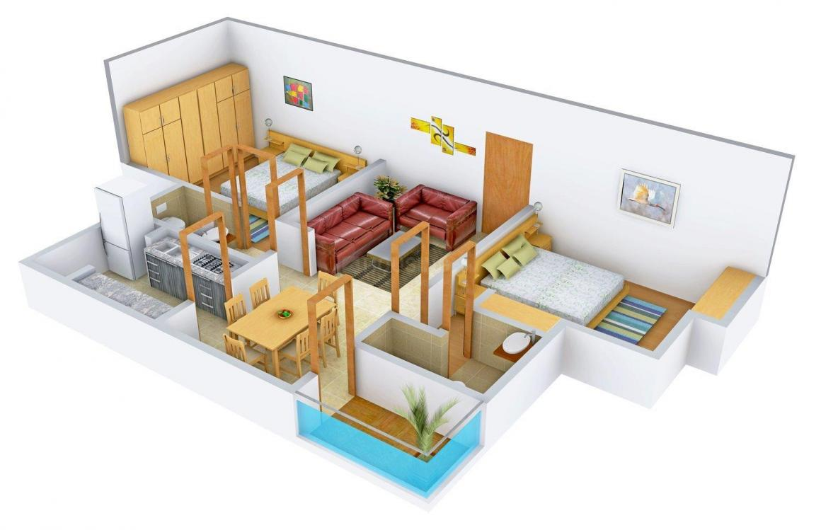Floor Plan Image of 1150.0 - 1495.0 Sq.ft 2 BHK Apartment for buy in Sreedhanya Planet X-B