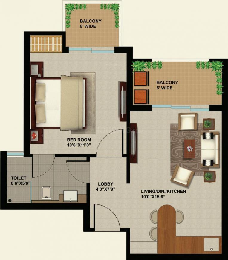 Sunworld Arista Floor Plan: 1 BHK Unit with Built up area of 615 sq.ft 1