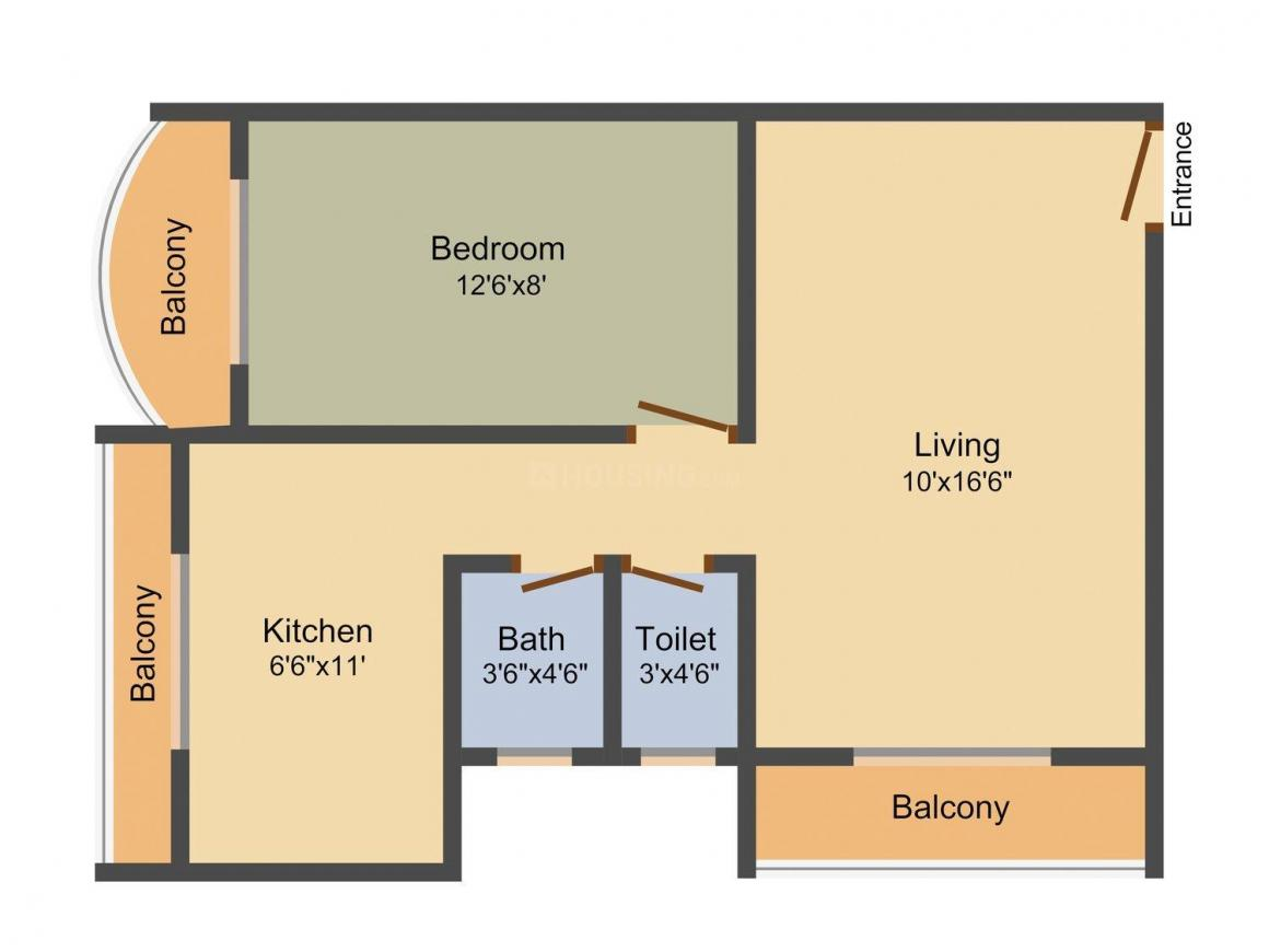 Raj Chamunda Padmavati Floor Plan: 1 BHK Unit with Built up area of 810 sq.ft 1