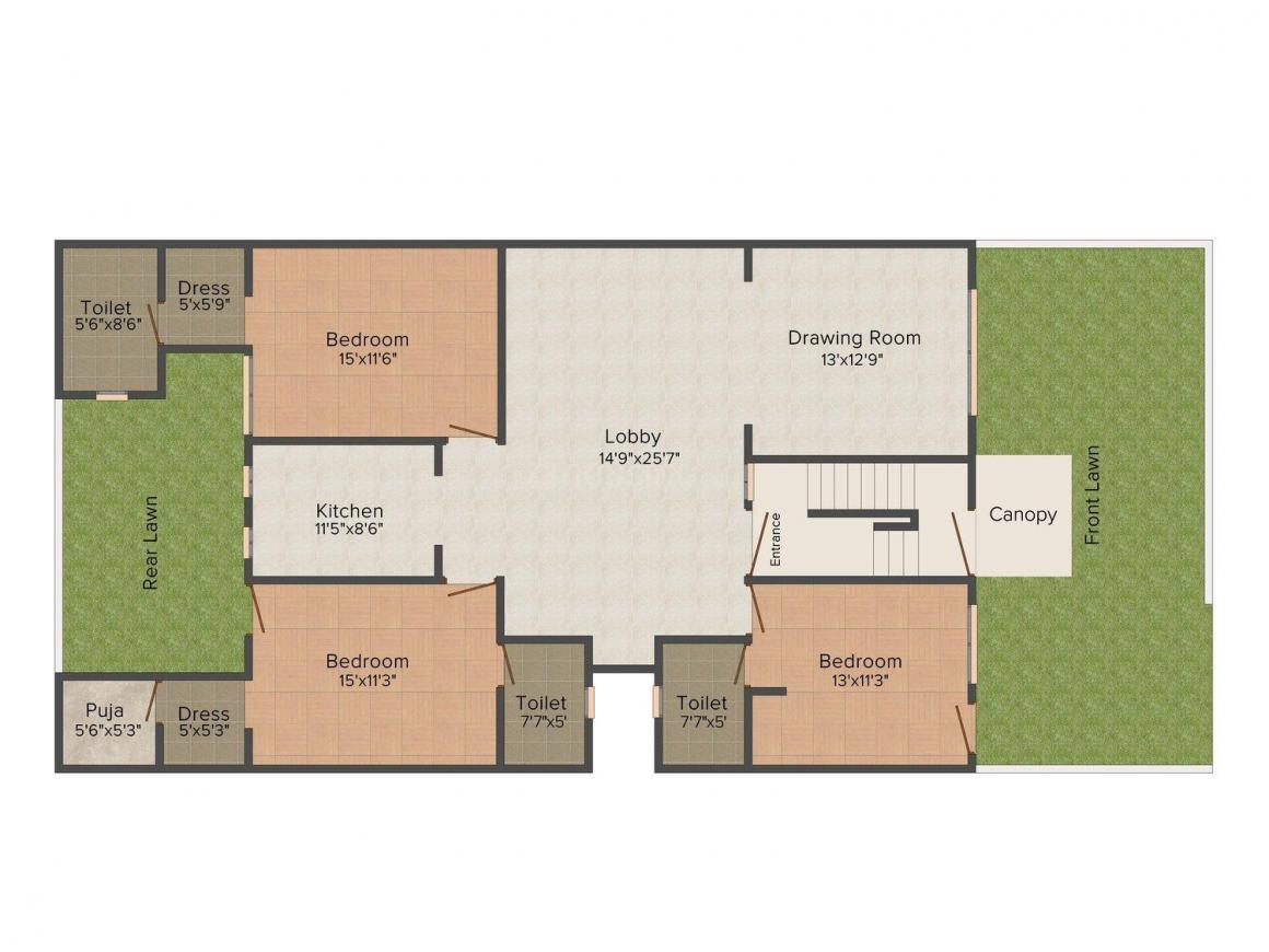 Floor Plan Image of 0 - 2000.0 Sq.ft 3.5 BHK Independent Floor for buy in 360 Degree Floors - 2