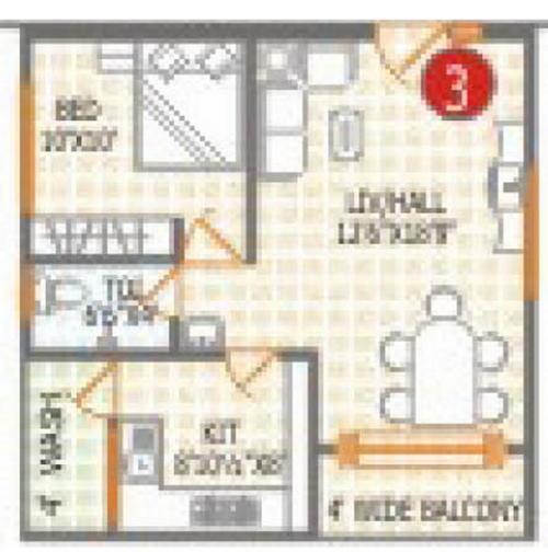 RV Nirmaan Avaneendra Floor Plan: 1 BHK Unit with Built up area of 682 sq.ft 1