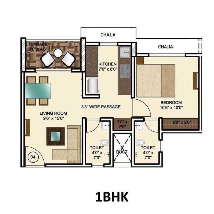 Gurukrupa Amber Vista Floor Plan: 1 BHK Unit with Built up area of 456 sq.ft 1