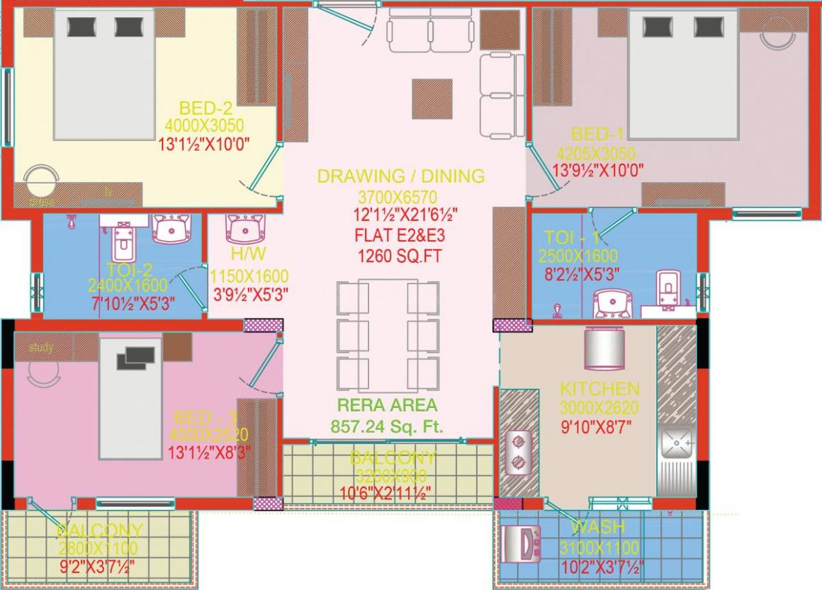 Green Valleys Shelters Green Crest Floor Plan: 3 BHK Unit with Built up area of 1260 sq.ft 1