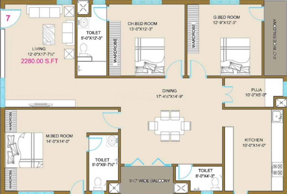 Subishi Fortuna Towers Floor Plan: 3 BHK Unit with Built up area of 2280 sq.ft 1