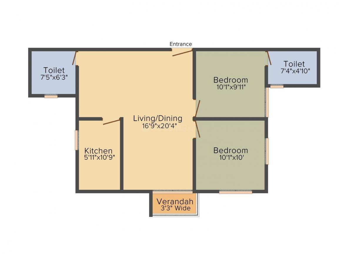 Indicon Neer Apartment Floor Plan: 2 BHK Unit with Built up area of 981 sq.ft 1