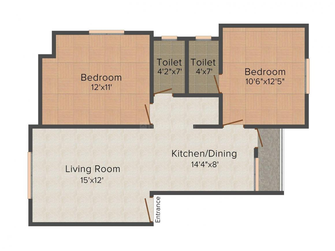 Floor Plan Image of 0 - 1030 Sq.ft 2 BHK Apartment for buy in Faith-Build Udyog Dhruv