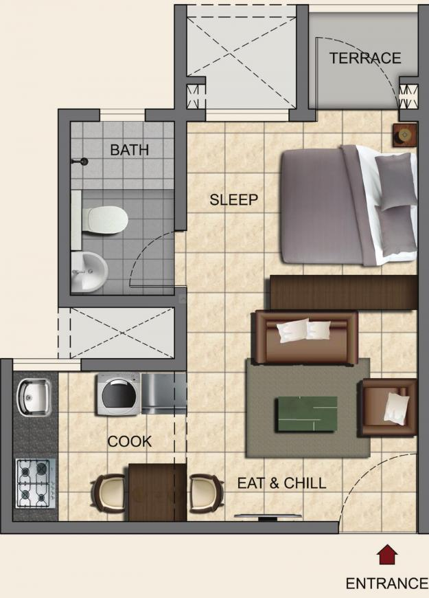 Provident Upstudios Floor Plan: 1 BHK Unit with Built up area of 260 sq.ft 1