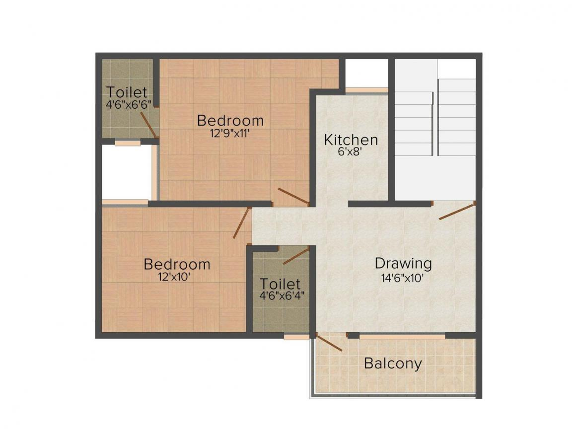 Konark Easy Home Floor Plan: 2 BHK Unit with Built up area of 720 sq.ft 1