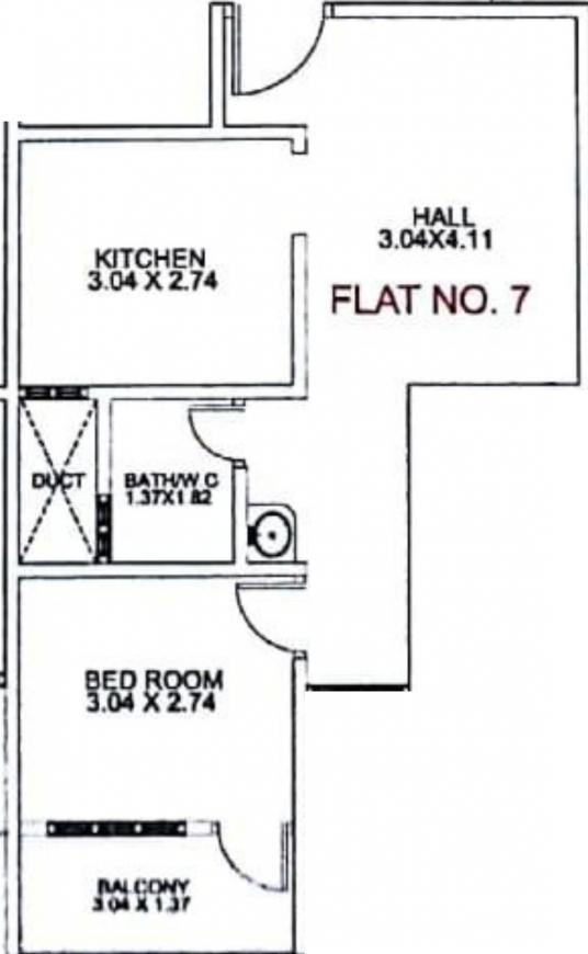 Kemmale Mahamaye Arcade Floor Plan: 1 BHK Unit with Built up area of 572 sq.ft 1