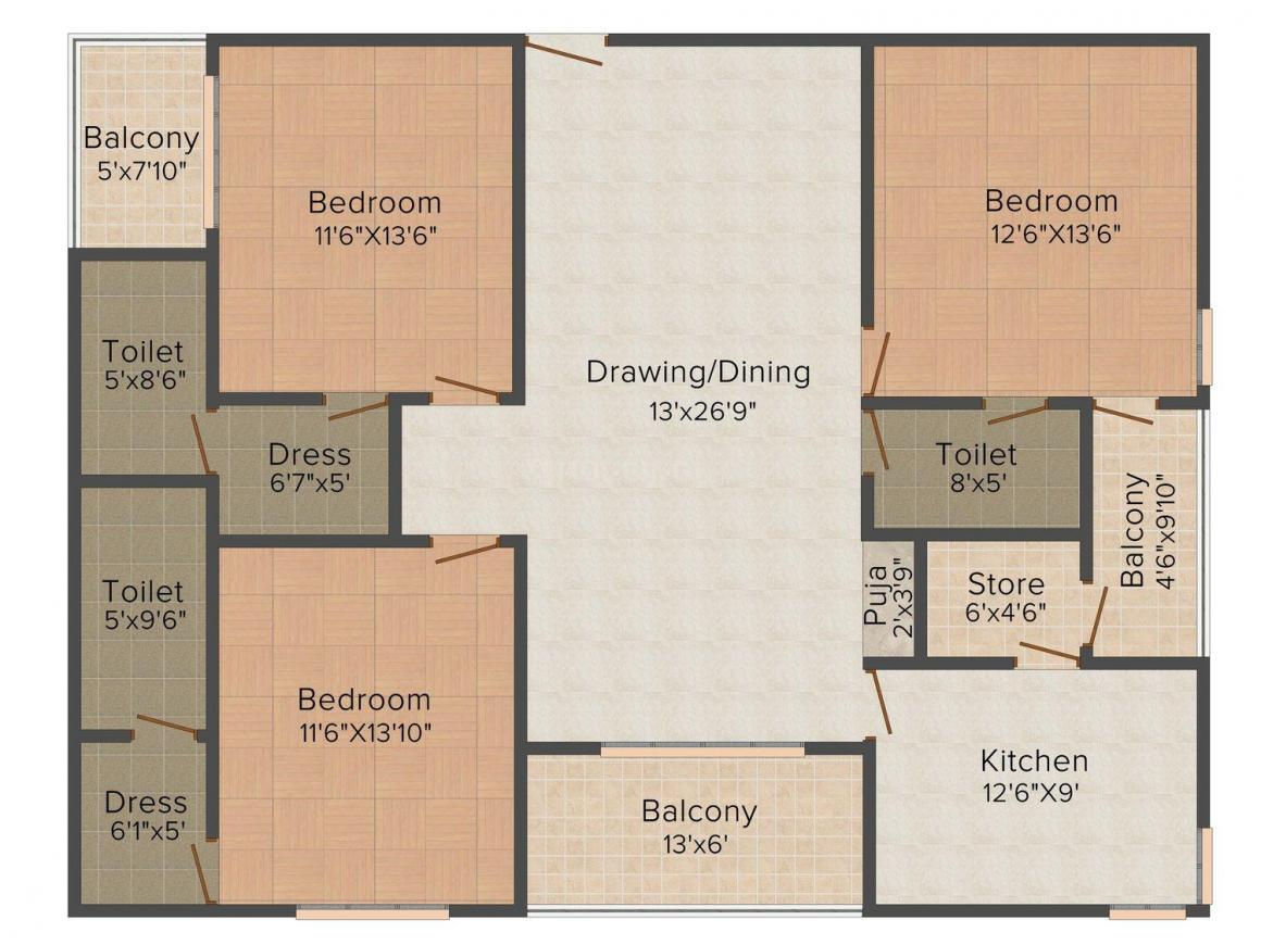 Floor Plan Image of 1574.0 - 1578.0 Sq.ft 3 BHK Apartment for buy in MNC Om Shubh Pride