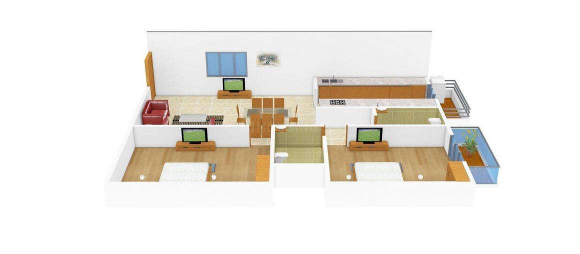 Floor Plan Image of 1035.0 - 1040.0 Sq.ft 2 BHK Apartment for buy in HSV Surya MNR Residency