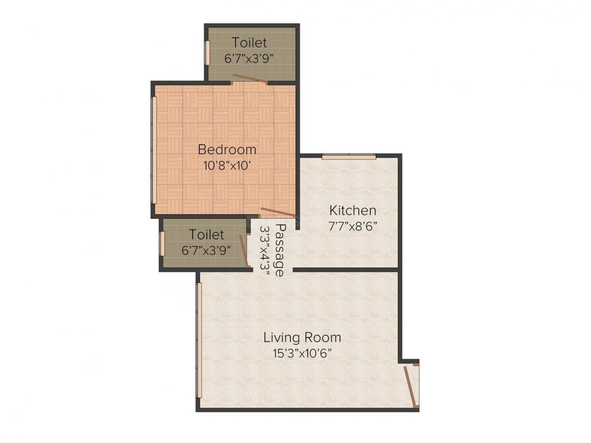 Floor Plan Image of 0 - 500.0 Sq.ft 1 BHK Apartment for buy in Aditya Vilas Vaibhav CHS