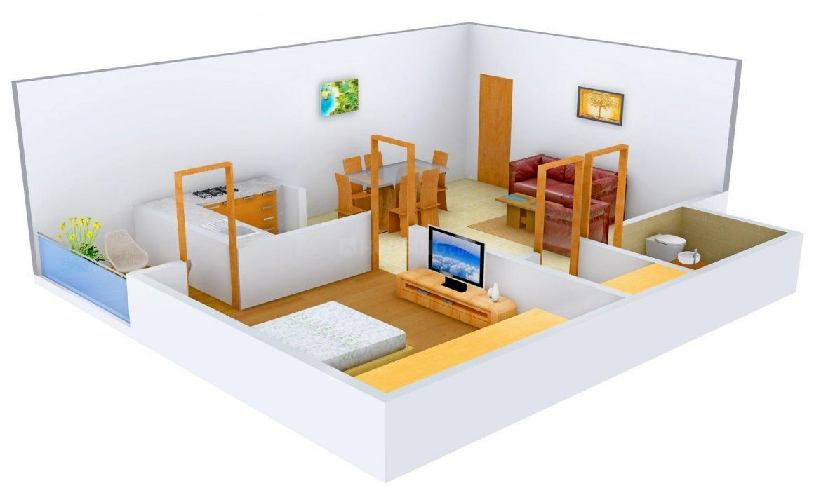 The First Brick Apartment Floor Plan: 1 BHK Unit with Built up area of 525 sq.ft 1