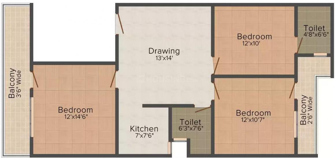Friends Ganga Tower Floor Plan: 3 BHK Unit with Built up area of 950 sq.ft 1