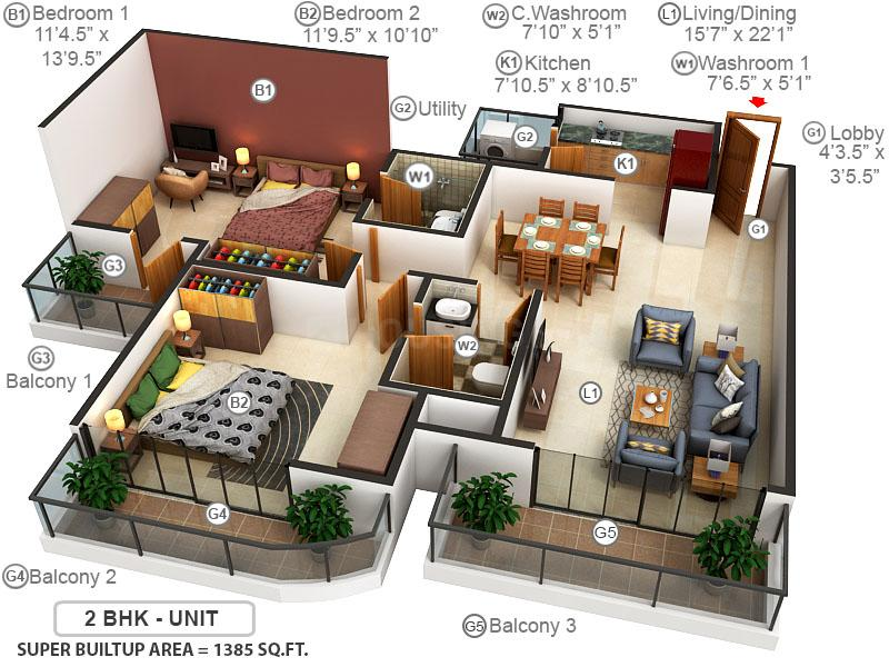 Paras Dews Floor Plan: 2 BHK Unit with Built up area of 1385 sq.ft 1