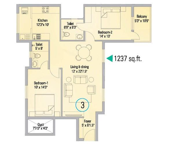Appaswamy The Bloomingdale Floor Plan: 2 BHK Unit with Built up area of 1237 sq.ft 2