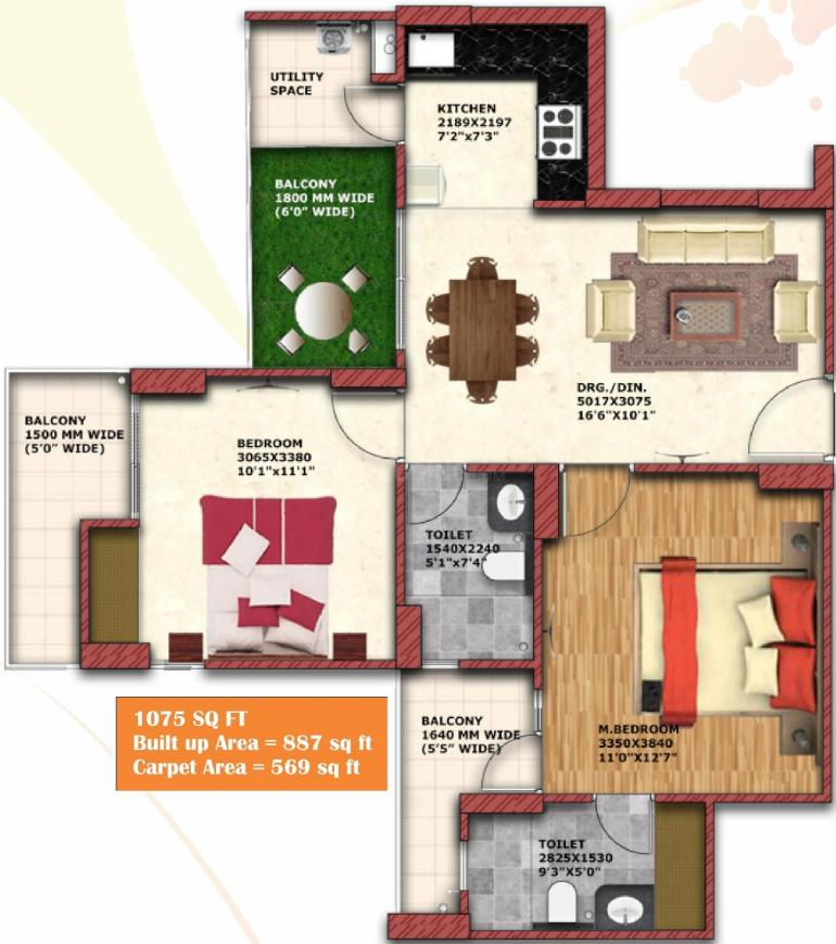 Geotech Blessings Floor Plan: 2 BHK Unit with Built up area of 569 sq.ft 1