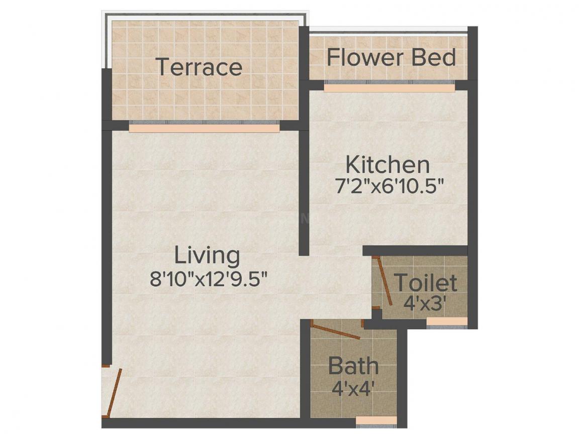 Floor Plan Image of 352 - 620 Sq.ft 1 RK Apartment for buy in Om Sai Riddhi Siddhi-Sai kutir