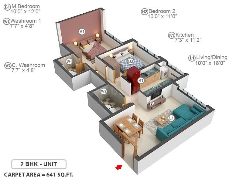 Emerald Isle Phase II Floor Plan: 2 BHK Unit with Built up area of 642 sq.ft 1