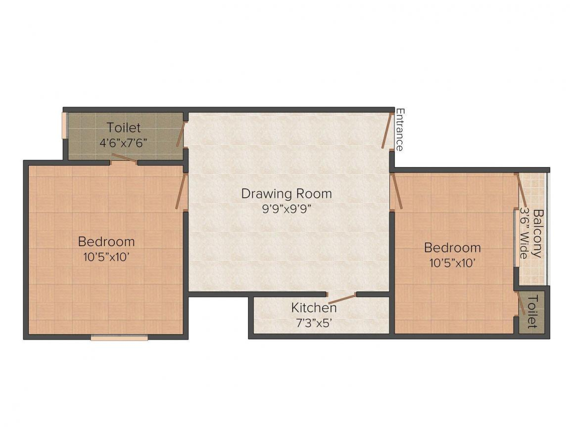 Floor Plan Image of 725 - 1050 Sq.ft 2 BHK Independent Floor for buy in Avni Homes - 2