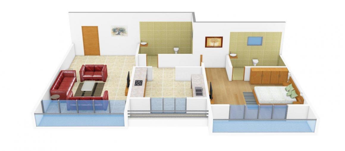 Shree Omkar Narayan Floor Plan: 1 BHK Unit with Built up area of 635 sq.ft 1
