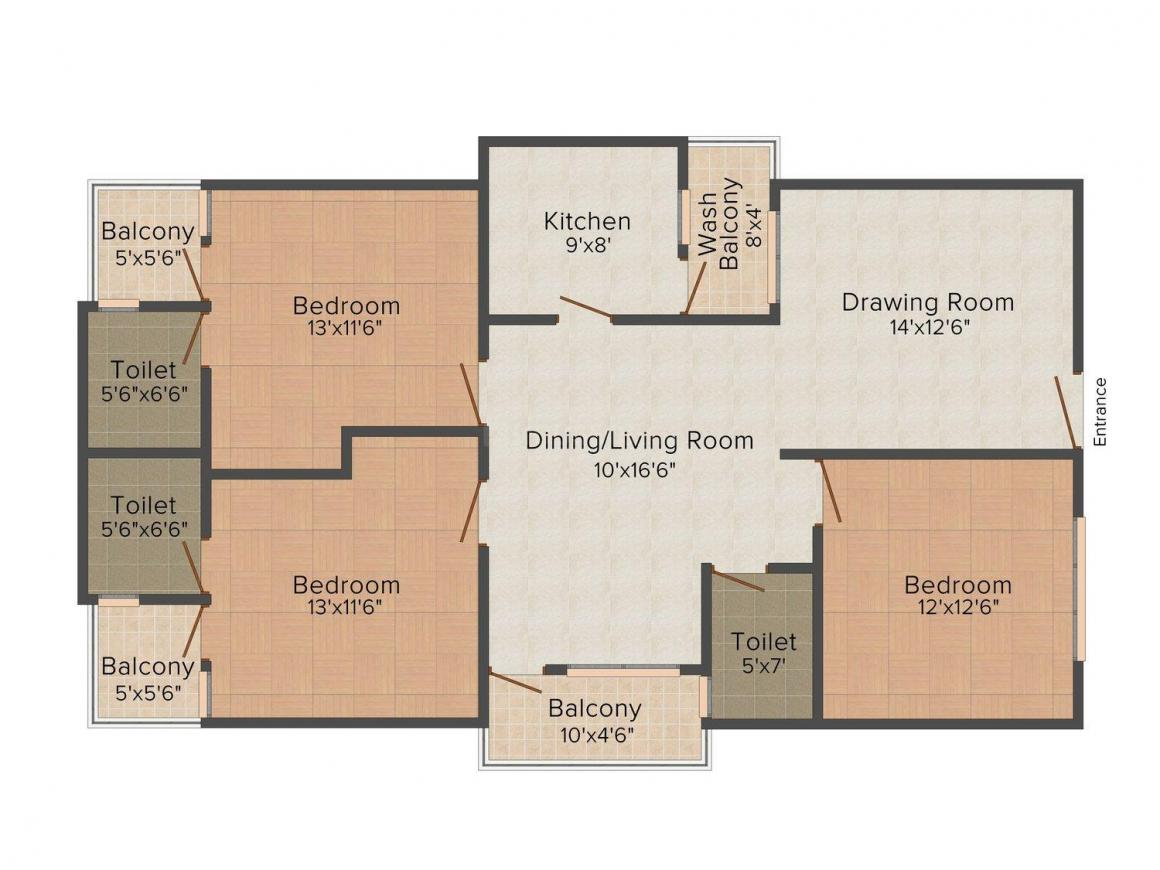 Floor Plan Image of 1276 - 1611 Sq.ft 2 BHK Apartment for buy in Manglam Residency