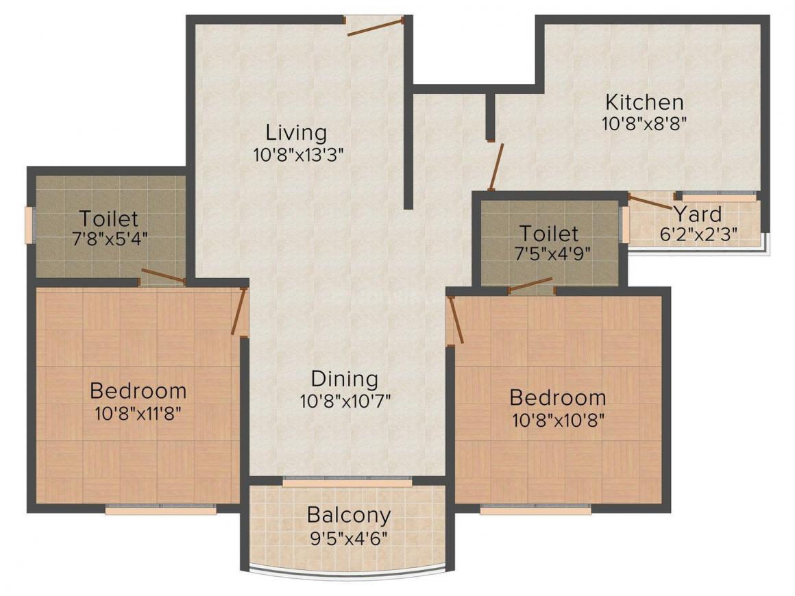 Floor Plan Image of 1103.0 - 1665.0 Sq.ft 2 BHK Apartment for buy in SFS Tivoli
