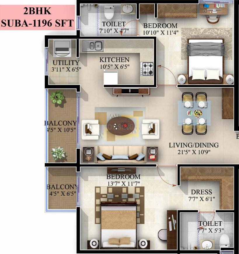 Mahaveer Jasper Floor Plan: 2 BHK Unit with Built up area of 1196 sq.ft 1