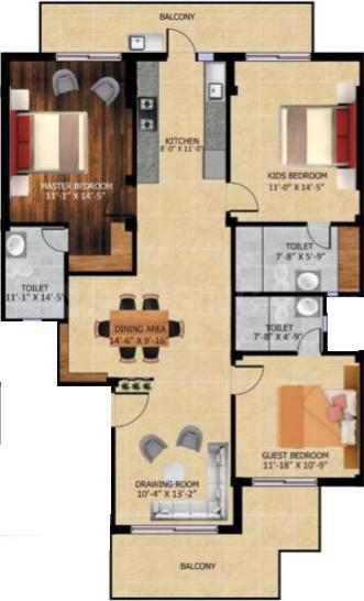 Surendra Homes Floor Plan: 3 BHK Unit with Built up area of 1700 sq.ft 1