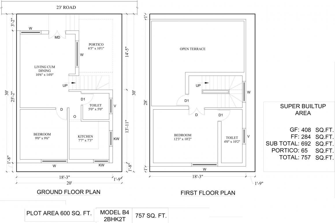 Amazze Abi Krishna Villas Floor Plan: 2 BHK Unit with Built up area of 757 sq.ft 1