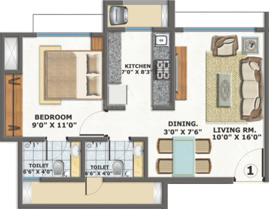 Floor Plan Image of 385.99 - 545.41 Sq.ft 1 BHK Apartment for buy in
