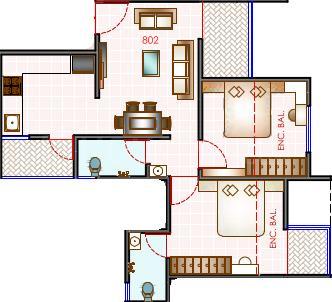 Prasanna Panache Floor Plan: 2 BHK Unit with Built up area of 657 sq.ft 1
