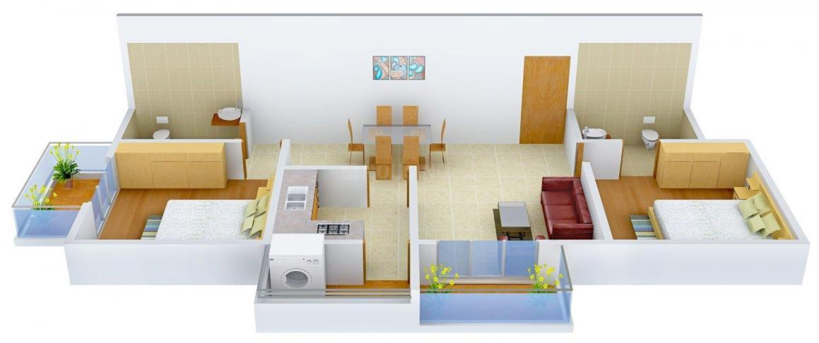 Floor Plan Image of 1100 - 1530 Sq.ft 2 BHK Apartment for buy in Landmark Valencity