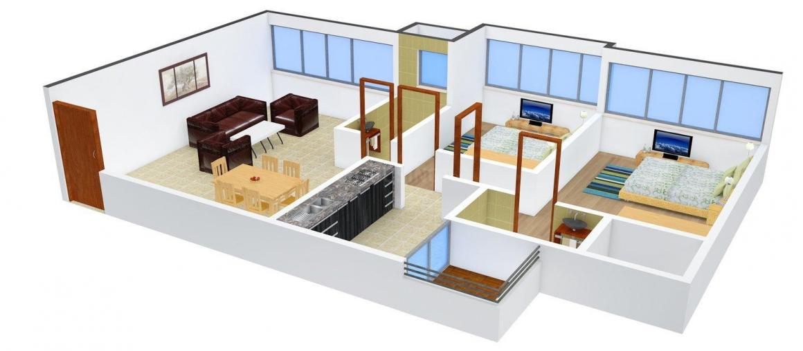 Floor Plan Image of 1224 - 2710 Sq.ft 2 BHK Apartment for buy in Sanaya Astrio