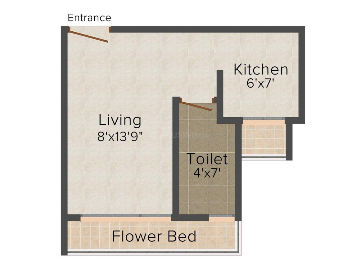 Floor Plan Image of 395.0 - 605.0 Sq.ft 1 RK Apartment for buy in Rushabh