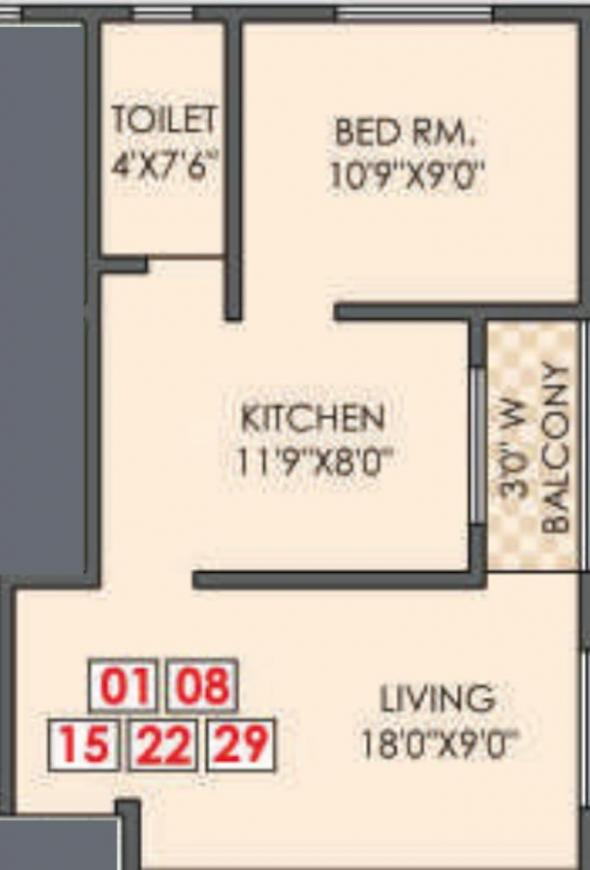 Charwad Ovi Yuga Residency Floor Plan: 1 BHK Unit with Built up area of 537 sq.ft 1