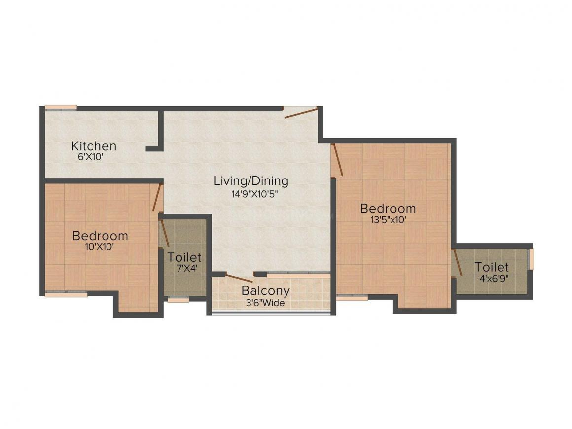 Floor Plan Image of 820 - 924 Sq.ft 2 BHK Apartment for buy in Bhaskar Babu Chinmaya Nagar Project