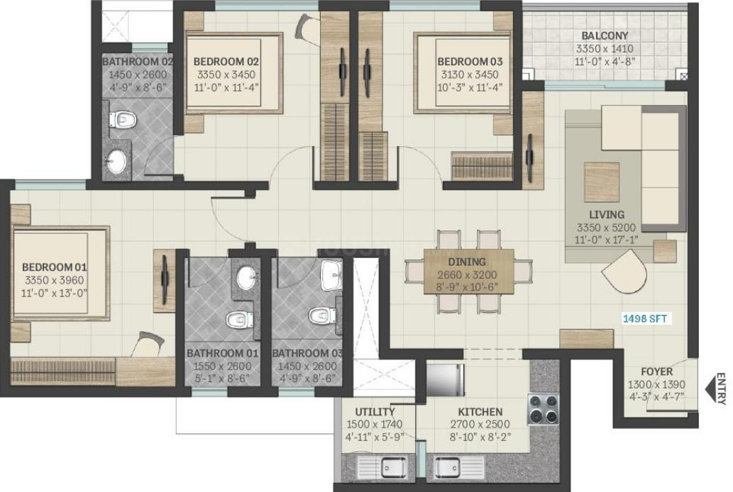 Sobha Manhattan Towers Town Park Phase 1 W 4 And 5 Floor Plan: 3 BHK Unit with Built up area of 1001 sq.ft 1