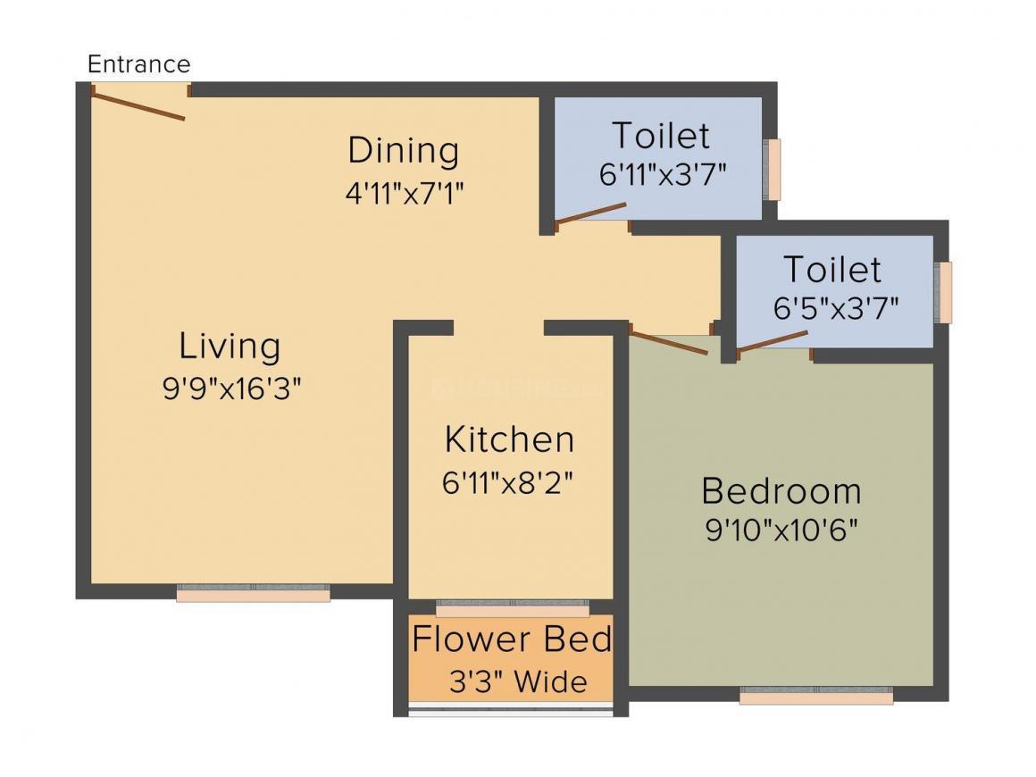 Floor Plan Image of 525.0 - 840.0 Sq.ft 1 BHK Apartment for buy in Beauty Landmark