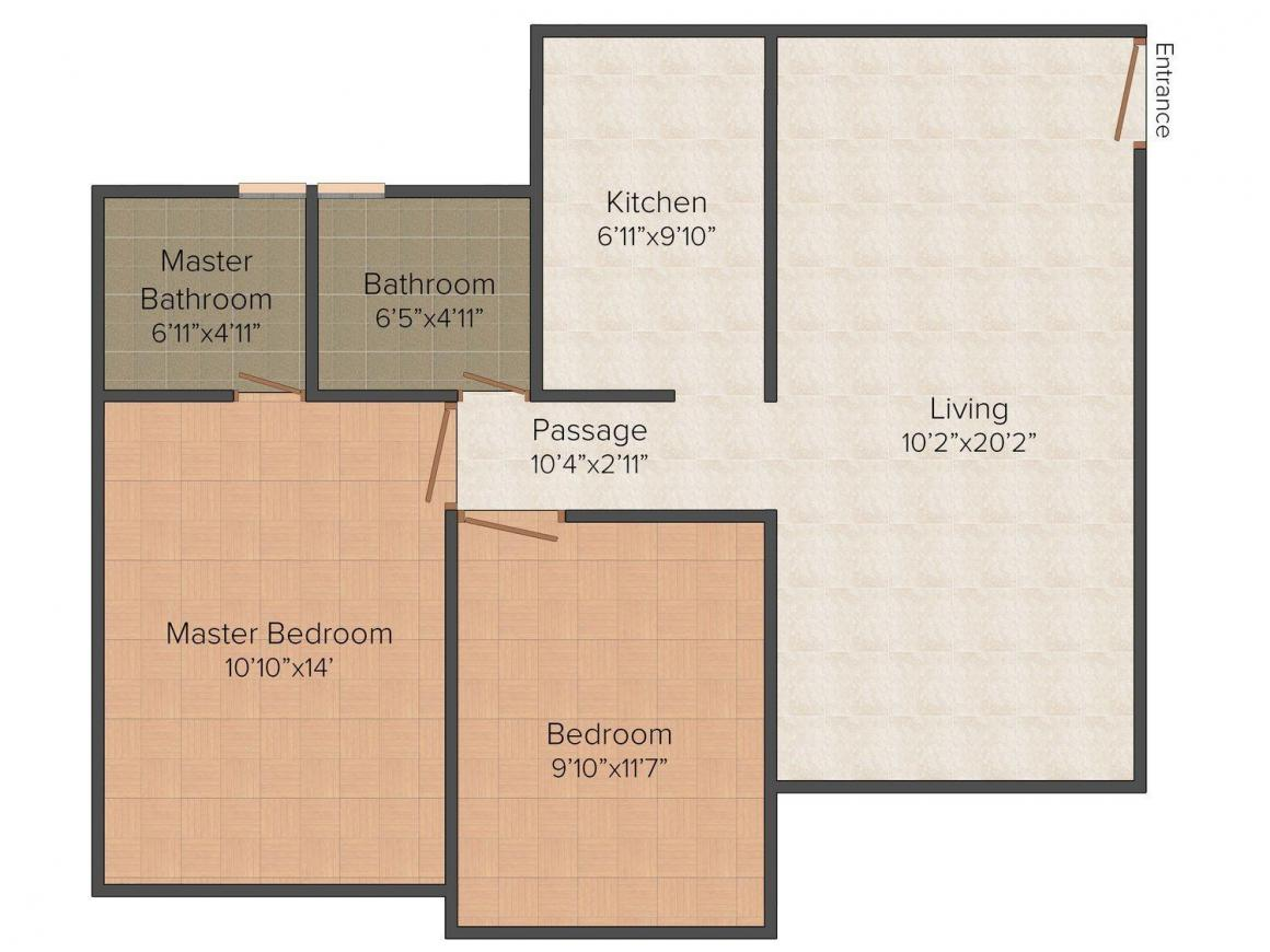 Floor Plan Image of 643.0 - 737.0 Sq.ft 2 BHK Apartment for buy in Supreme Raghvendra Empire