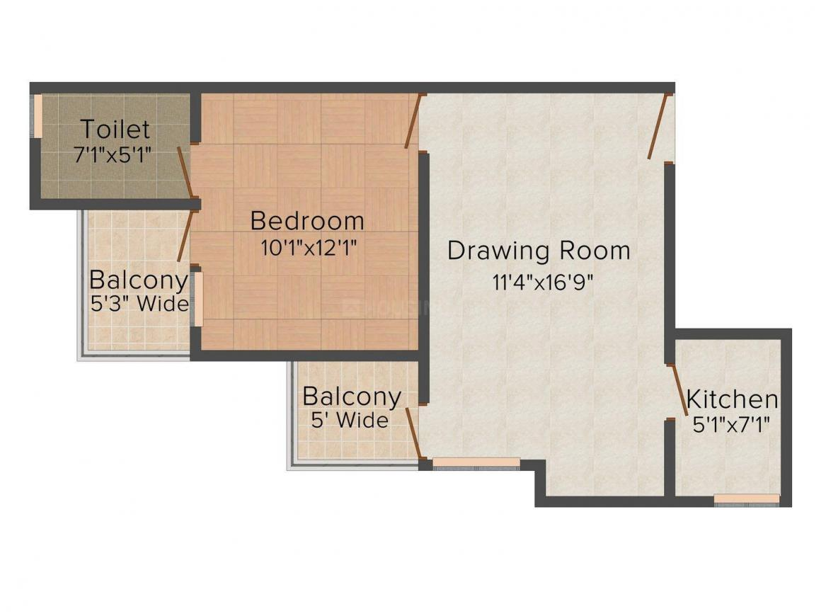 Floor Plan Image of 0 - 630.0 Sq.ft 1 BHK Apartment for buy in Aristo Bliss