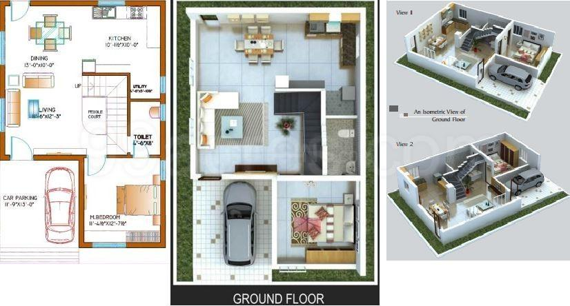 KSR Villa Aster Floor Plan: 4 BHK Unit with Built up area of 2454 sq.ft 1