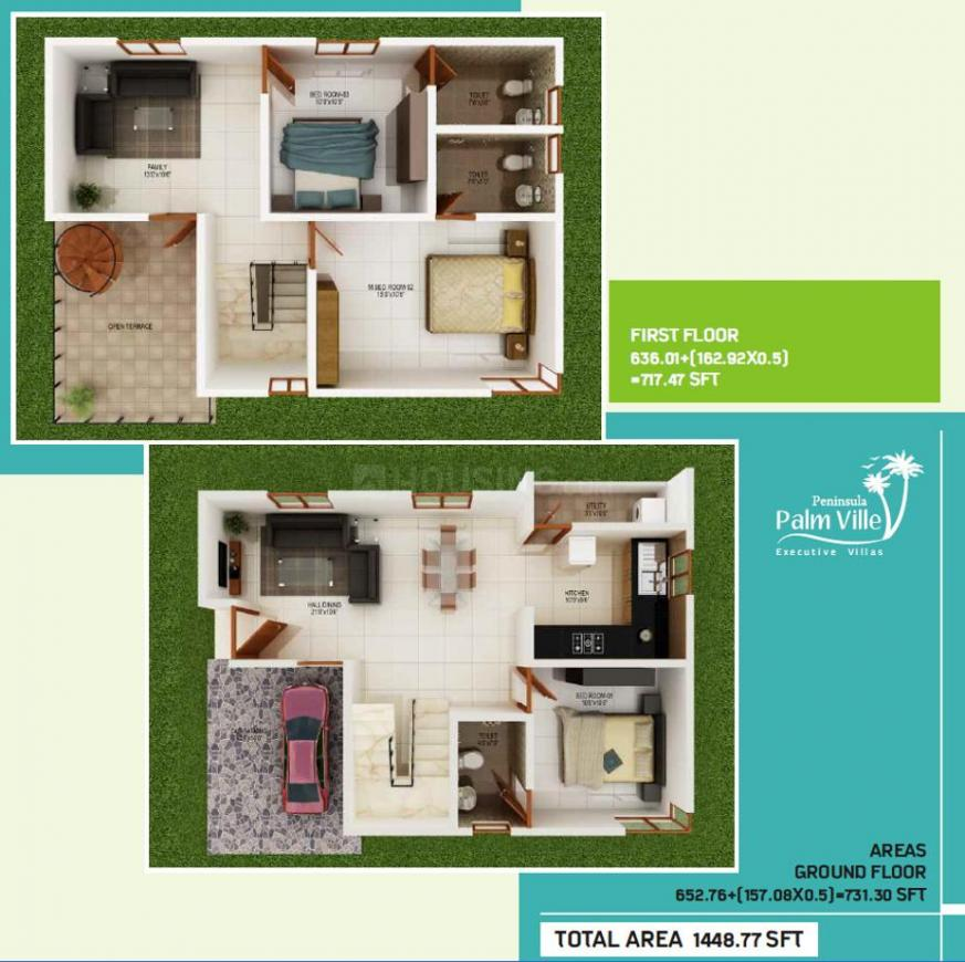 Peninsula Palmville Floor Plan: 3 BHK Unit with Built up area of 1448 sq.ft 1
