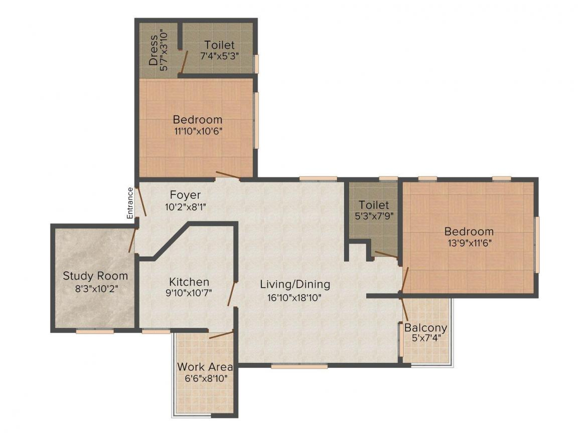 Floor Plan Image of 1440 - 1730 Sq.ft 2.5 BHK Apartment for buy in MIR Pearl Castle
