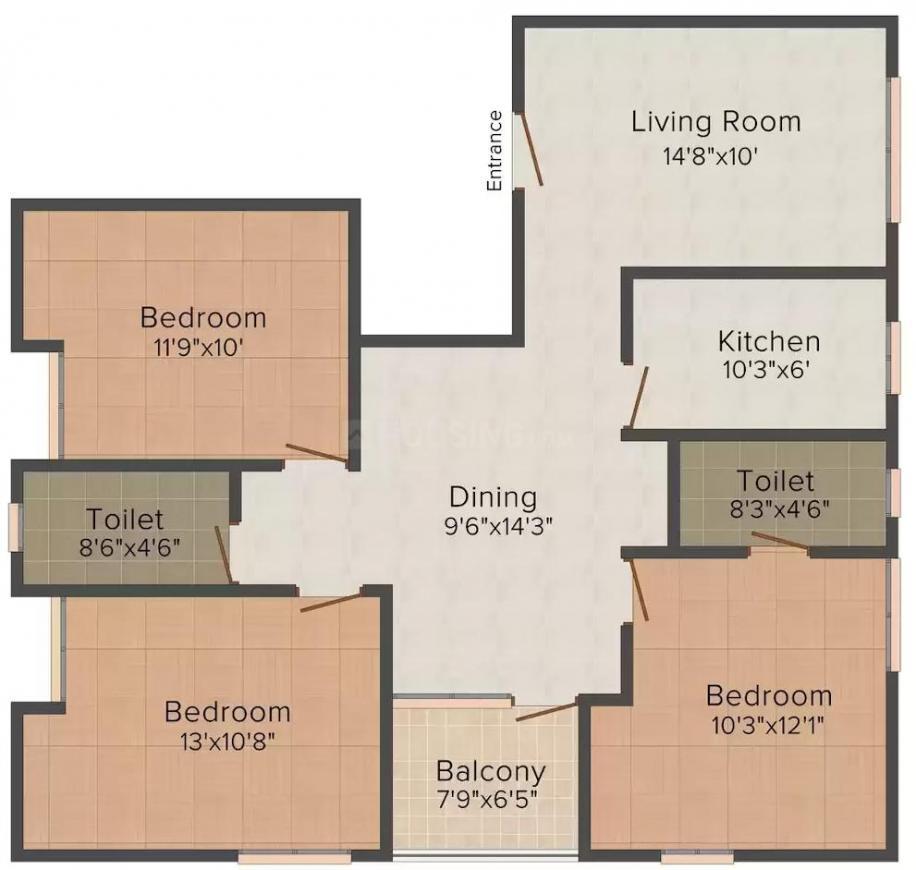 Sarvodaya Om Anuradha Niketan Floor Plan: 3 BHK Unit with Built up area of 1268 sq.ft 1