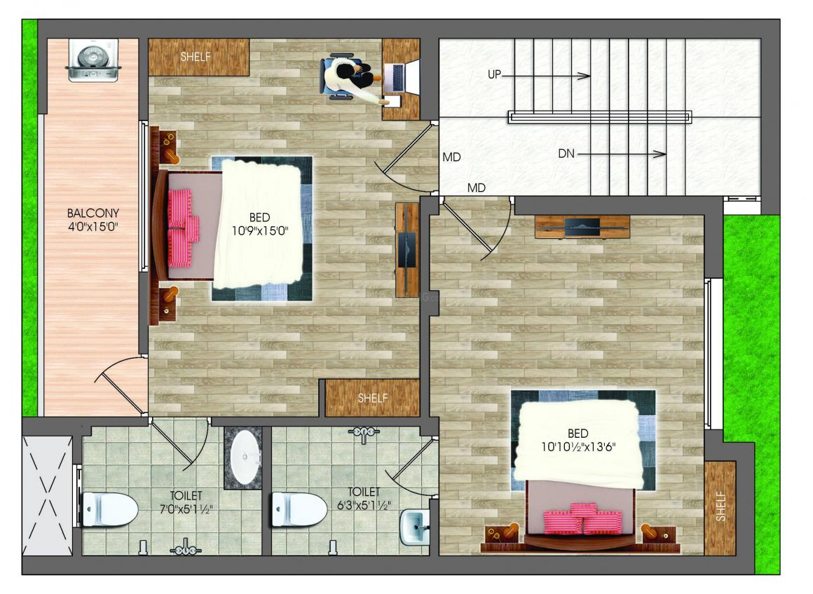 DAC Tambarilla Floor Plan: 3 BHK Unit with Built up area of 1635 sq.ft 2